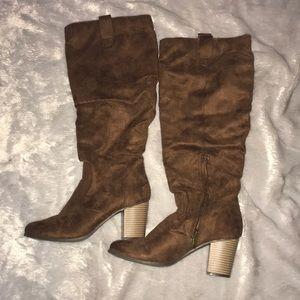 Maurice's knee high heeled dark brown boot 8